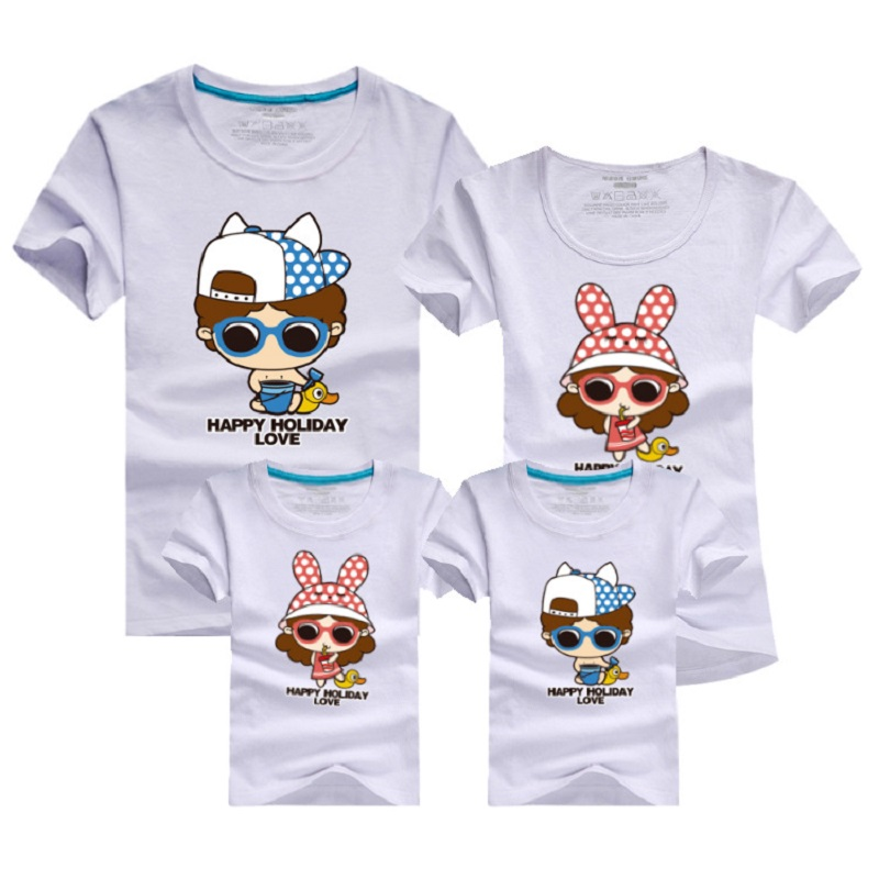 Matching Family Look Clothing Outfits Fashion Cartoon Printed Short sleeve T shirt Apparel For Mother Daughter