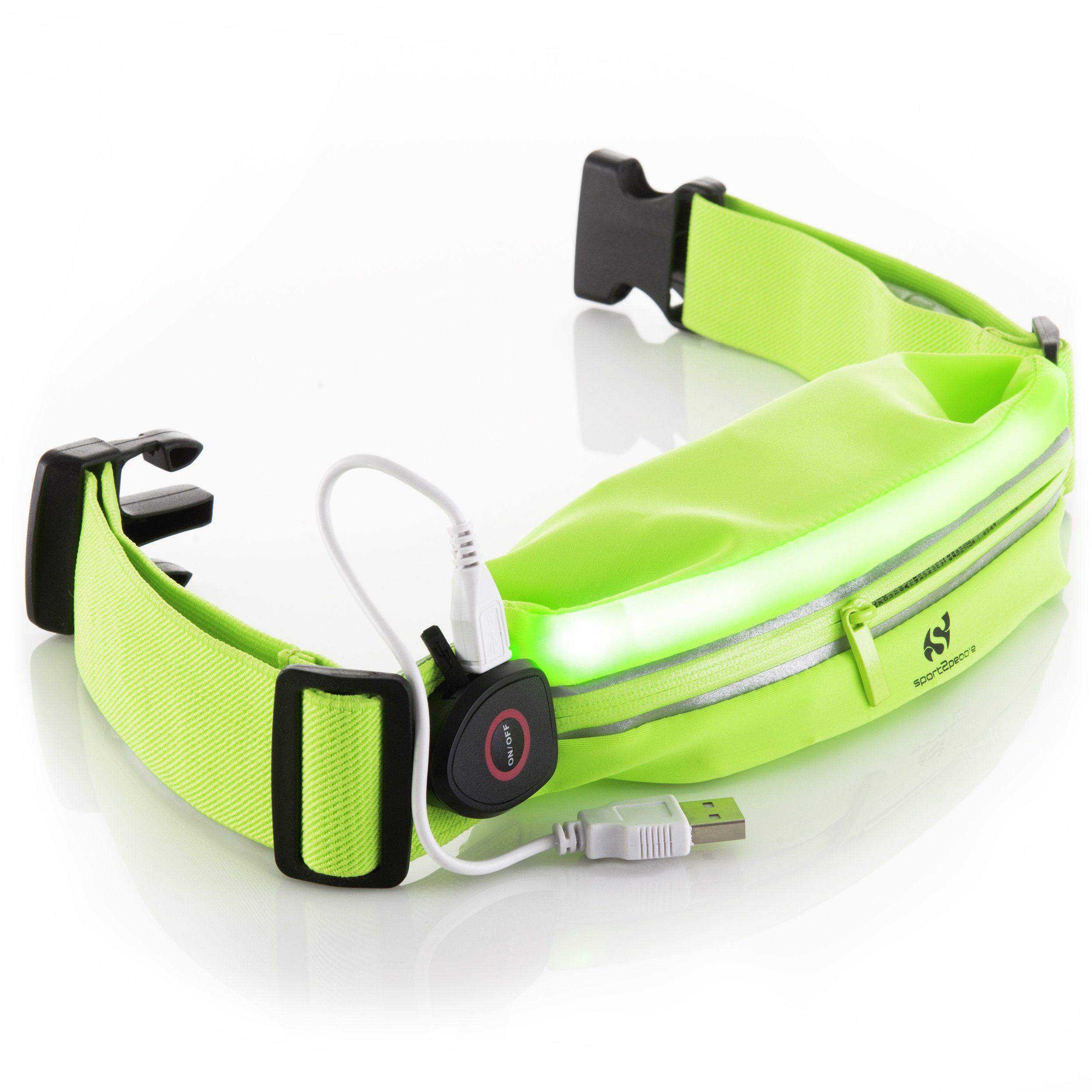 Sport2People LED Reflective Running Belt Pouch with USB Rechargeable Light - Key, iPhone X 6 7 8 Plus Cell Phone Holder for Runners - Waist Fanny Pack for Best Visibility during Walking and Cycling