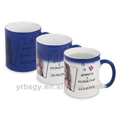 11 oz blue disappearing ink magic color changing ceramic mugs wholesale