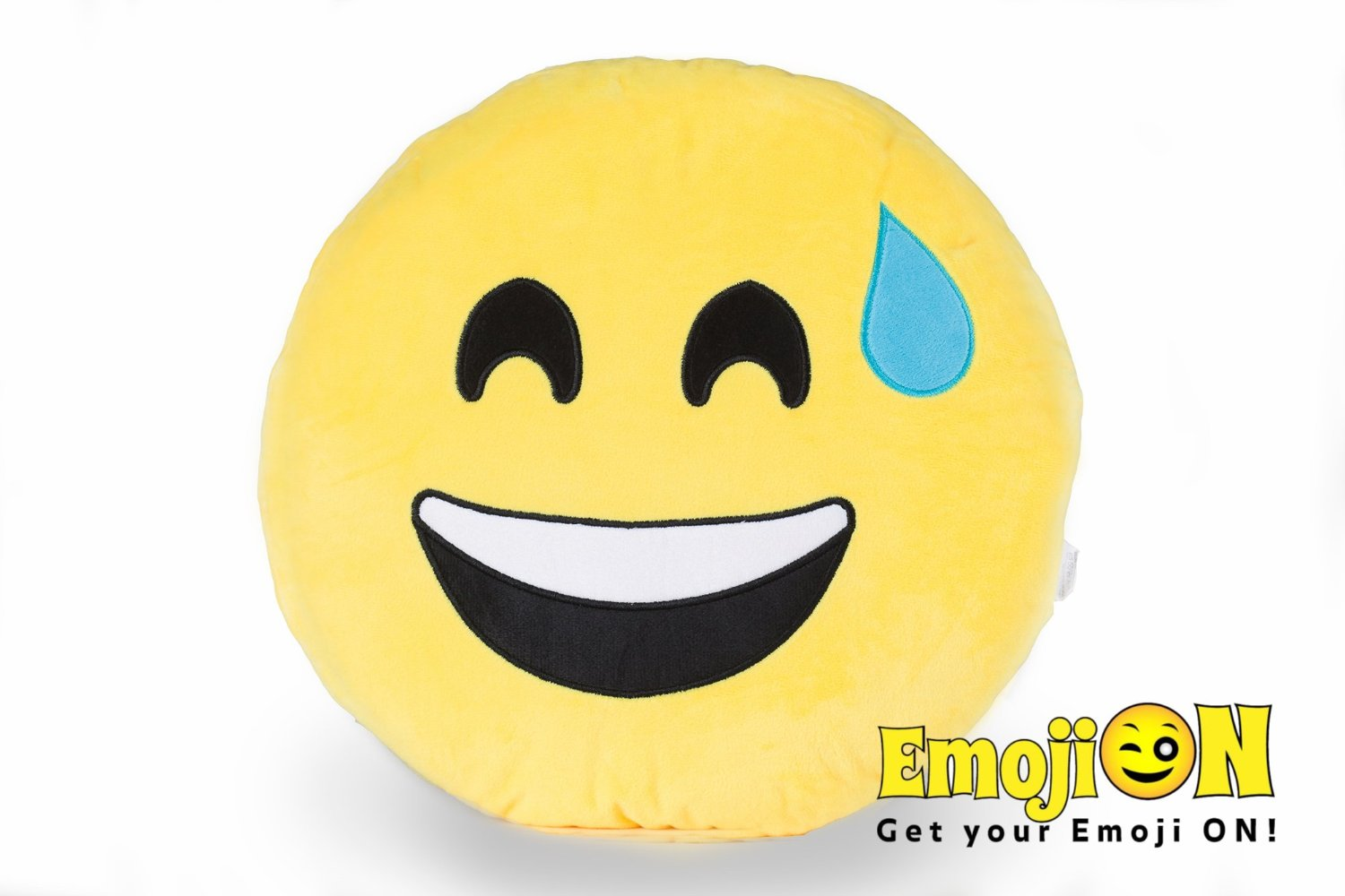 Stuffed Plush Emoji Pillow by EmojiON - Round Smiley Emoticon Pillow - Ultra Soft Plush Toy - Cute Bed Pillow, Fun Chair Cushion - Fluffy, Extra Large Pillow - Sweating - 14 inch (35cm)