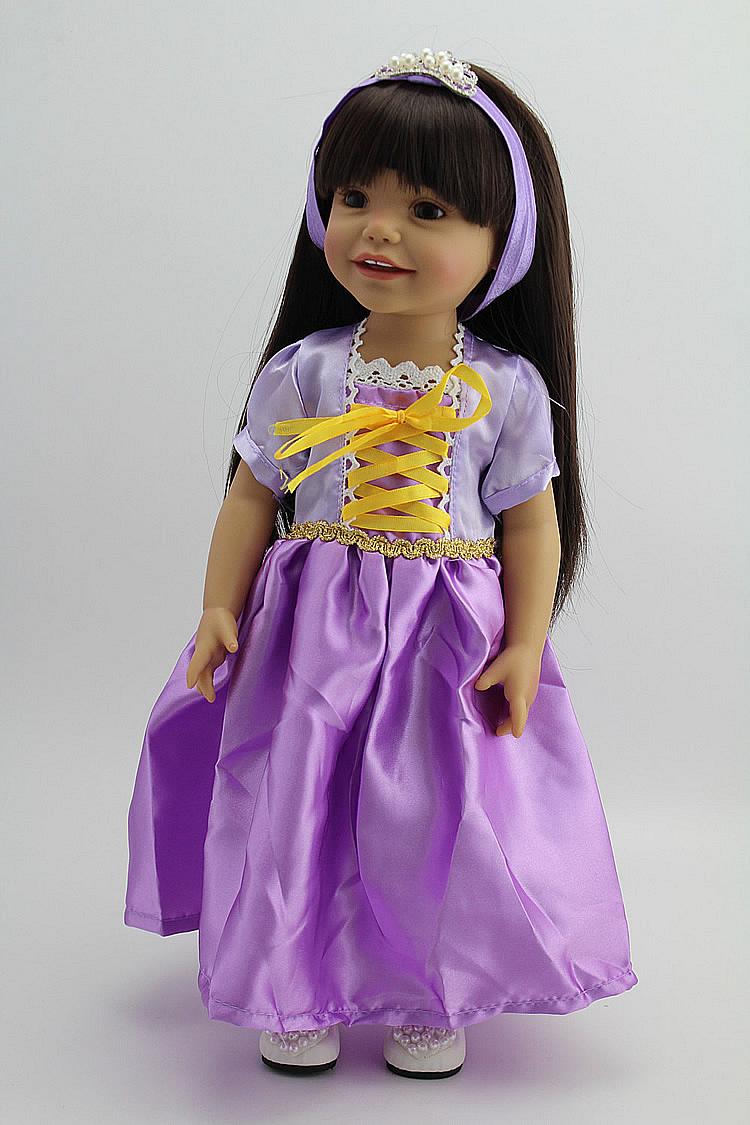 Brown Skin Color Vinyl Doll Toy Girls Playmate American Girl Vinyl