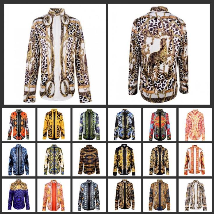 M-xxl 2014 мужчин леопард 3D печать блузка гей цвета великолепная топы золото начальник / цветочный / неправильные геометрические печать рубашки