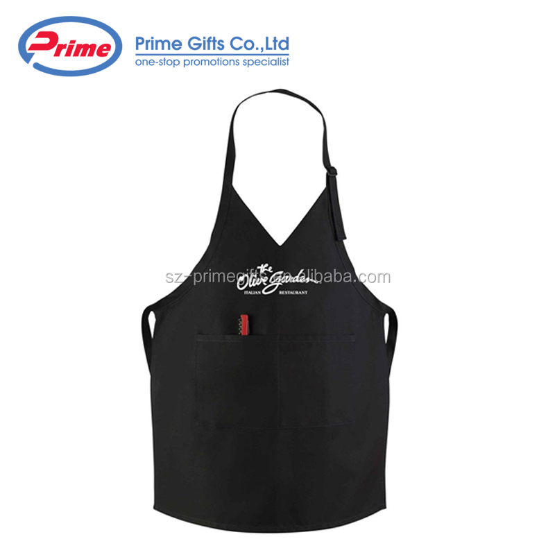 Custom Logo Polyester Tuxedo Bib Apron with Adjustable Neckband