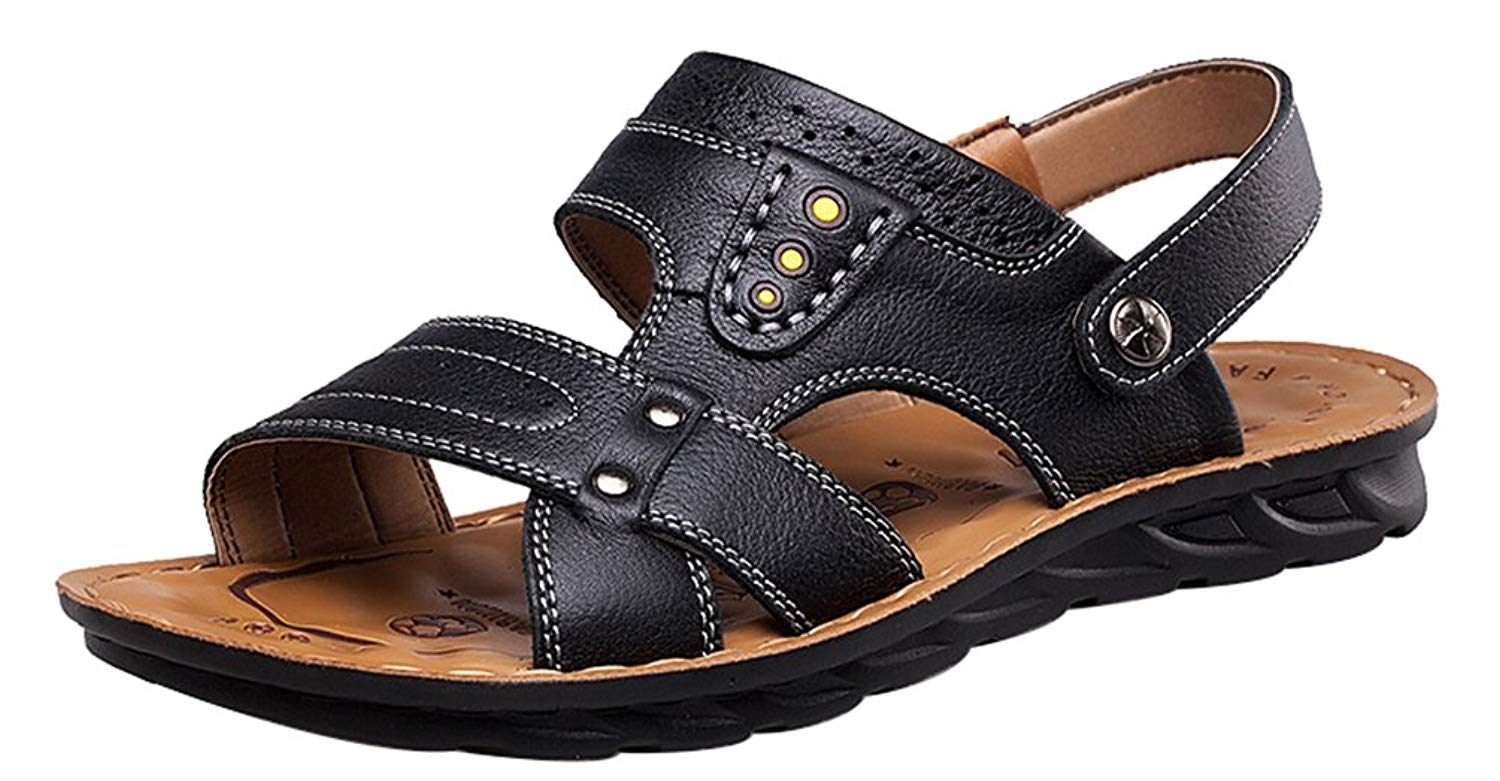 fb0a3f8ac Get Quotations · Abby 6166 Mens Leather Leisure Breathable Handsome  Athletic Beach Cozy Sandals Mules