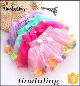 wholesale kids flower tutu skirts baby flower petal dance skirts