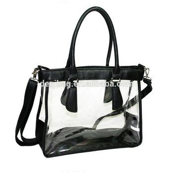 4faf8eff53 Black Women s Clear Transparent Purse Satchel Handbag Pvc Beach Bag ...