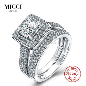 Wholesale Solid Silver Wedding Rings Set For Couples Dubai Fashion