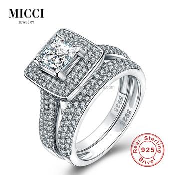 Wholesale Solid Silver Wedding Rings Set For CouplesDubai Fashion
