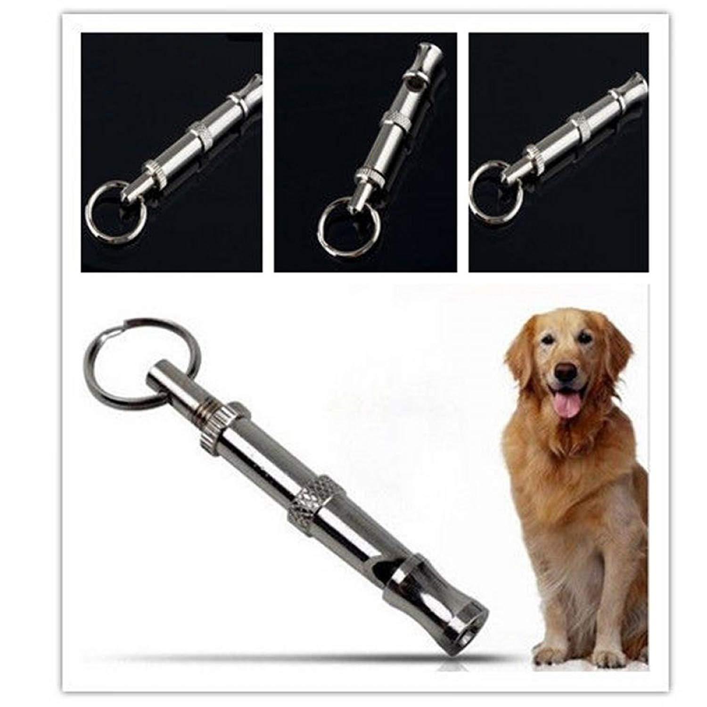 Fuleewoo Adjustable Dog Keychain Ultrasonic Sound Pet Training Metal Whistle
