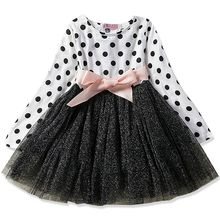 Платье для девочек от 2 до 7 лет Детские праздничные платья с длинными рукавами, детские платья принцессы Детское платье на день рождения для...(Китай)
