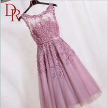 Women Apparel mini backless pure lace cuite beaded sleeveless belted stain sash wedding elegant short evening dresses