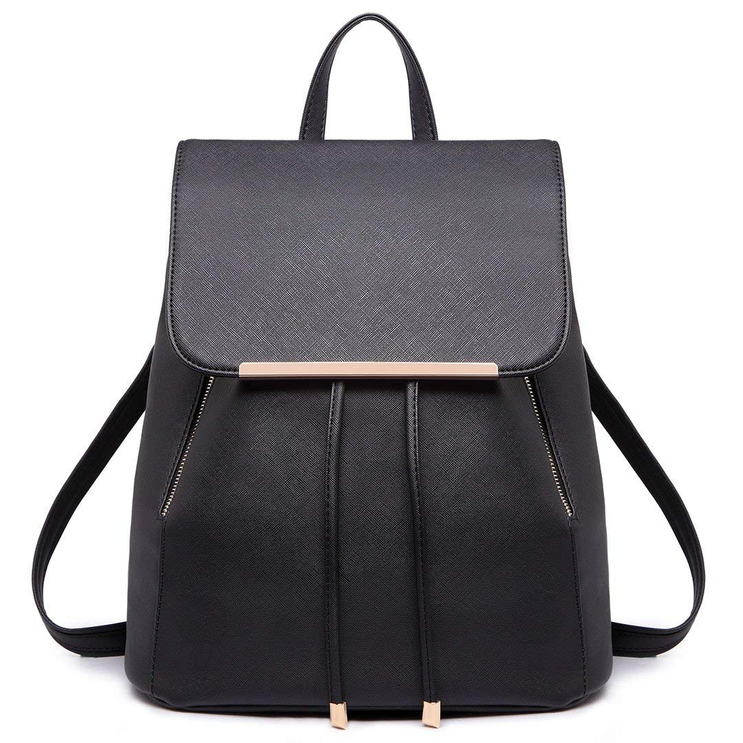 7922ba57b4 Get Quotations · Miss Lulu Fashion Saffiano Pu Leather Satchel Backpack for  Girls Women (Black E1669)