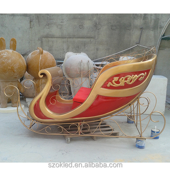 wholesale decorative christmas sleigh decoration fibreglass christmas santa sleigh