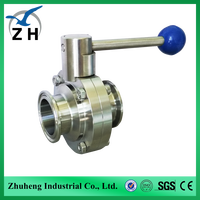 Manufacturer stainless steel sanitary clamped butterfly valve