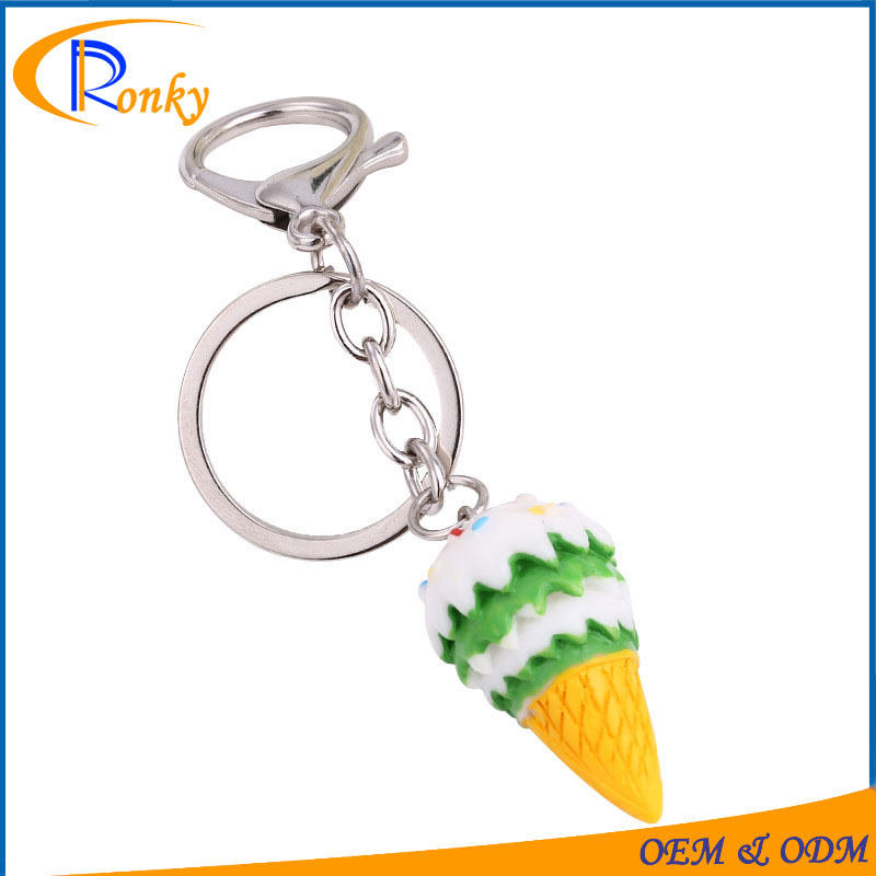 Factory price novelty gift trade show giveaways fancy ice cream keychain