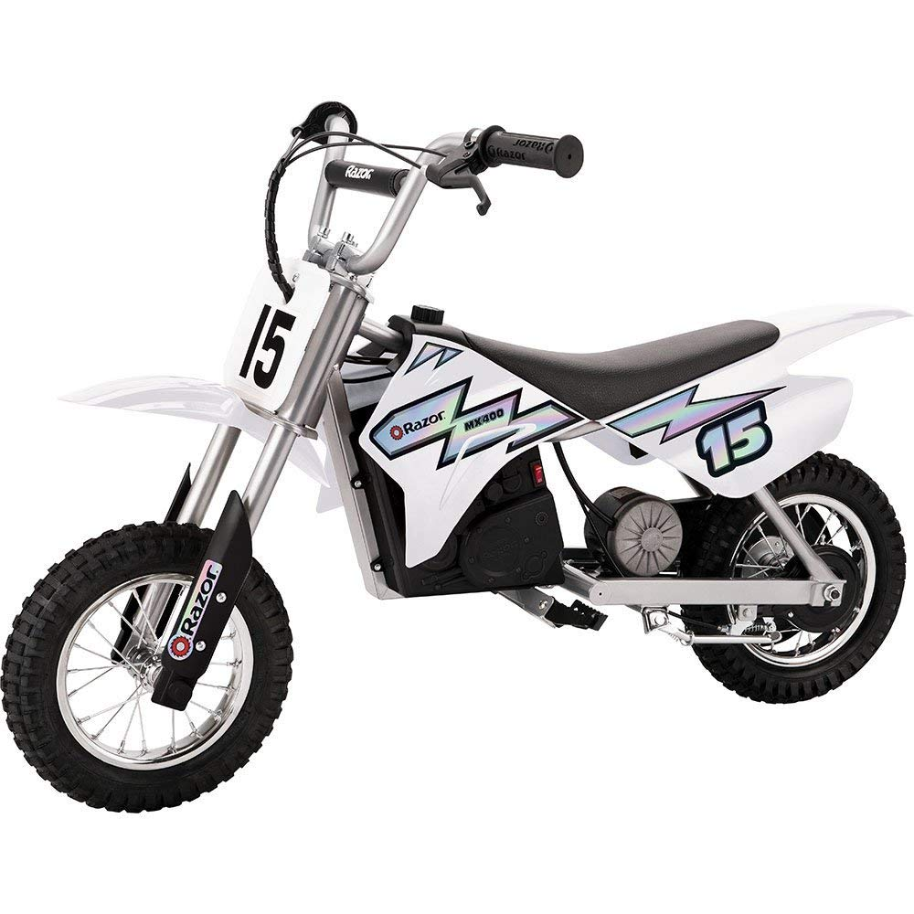 Razor MX400 Dirt Rocket Electric Moto Bike, White + Helmet + Elbow & Knee Pad Safety Pro Set