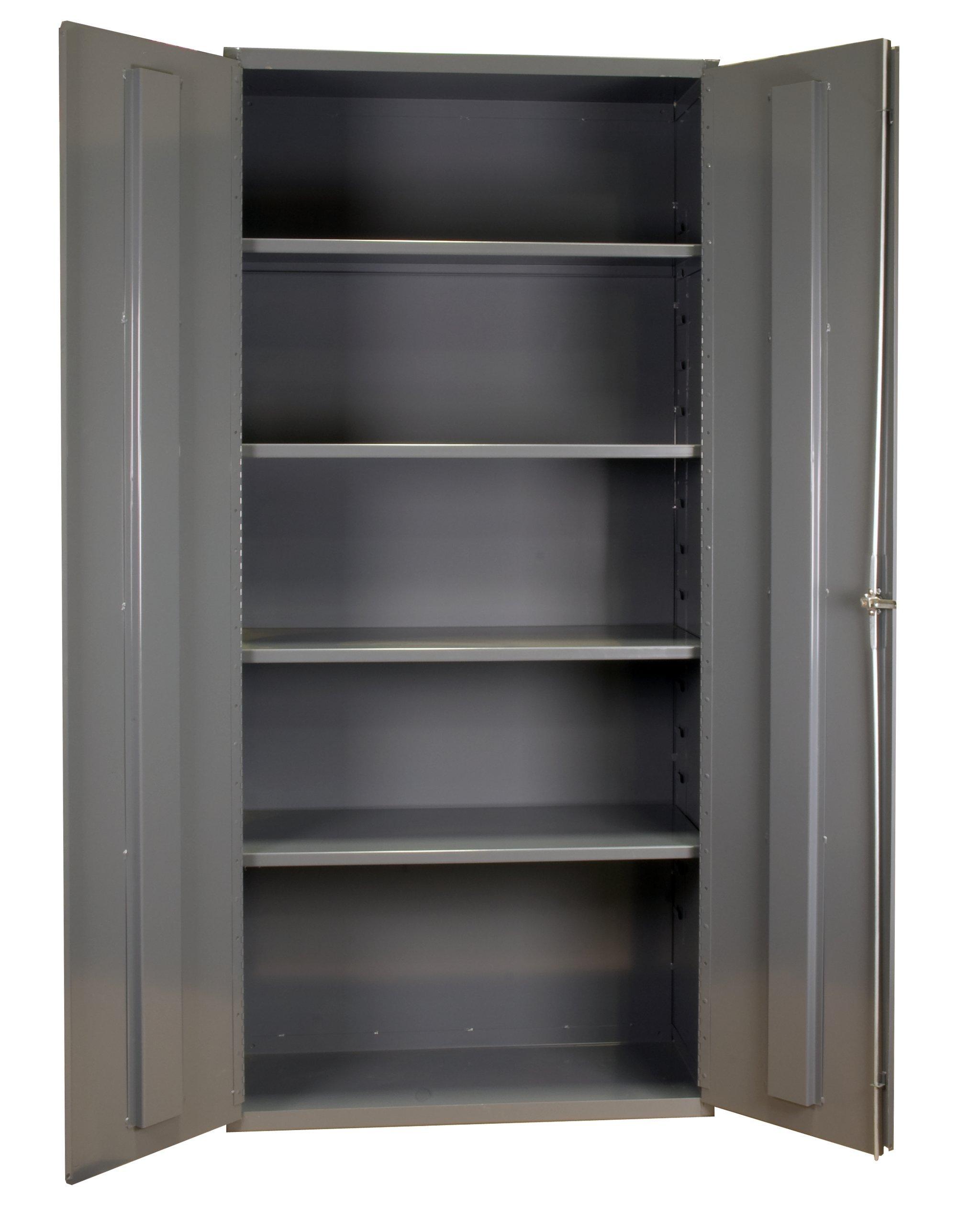 """Durham 14 Gauge Welded Steel Heavy Duty Flush Door Style Storage Cabinet, 3501-4S-95,  3600 lbs Capacity,  24"""" Length x 36"""" Width x 72"""" Height,  4 Adjustable Shelves"""