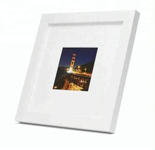 Fashionable Table Top Square White Photo Frame with Ivory Color Mat