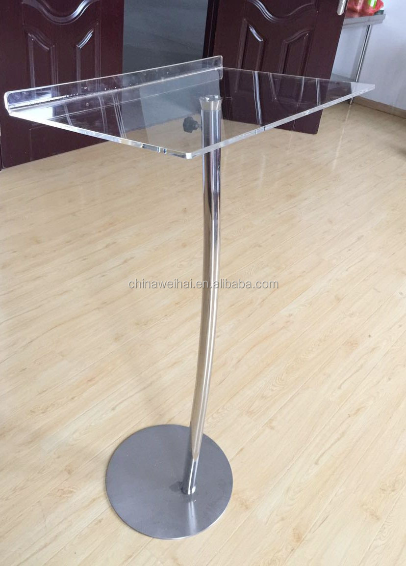 Modern Acrylic Church Pulpit Design With Stainless Base