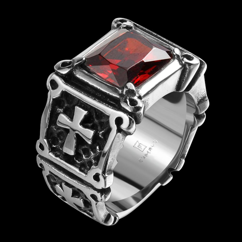 Luxury Tryme Brand Men Rings 316L Stainless Steel Jewelry Men Rings Red CZ Zircon & Cross Ruby Retro Gothic Men Ring for Gifts