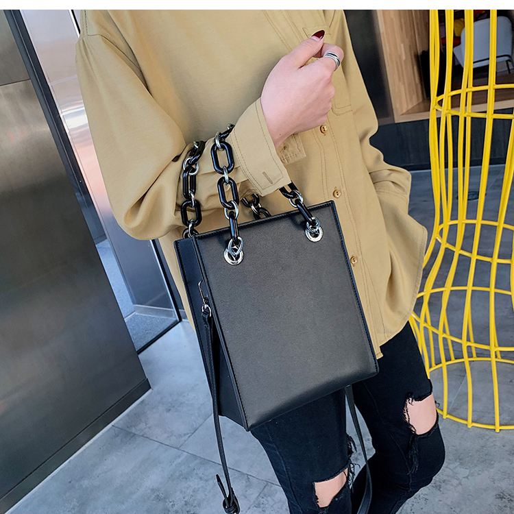 RKY0603 Simple single shoulder big female 2019 new fashion lady Korean version chain cross-body large capacity texture tote bag-2