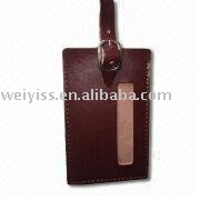 leather brown luggage tag with hang for promotion gifts 2012
