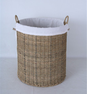 Natural Large Storage Basket Woven Seagrass Laundry Basket
