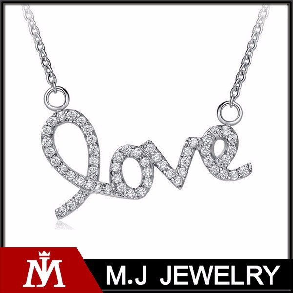 Stainless steel silver shiny love letter pendant necklace women full crystal heart charm