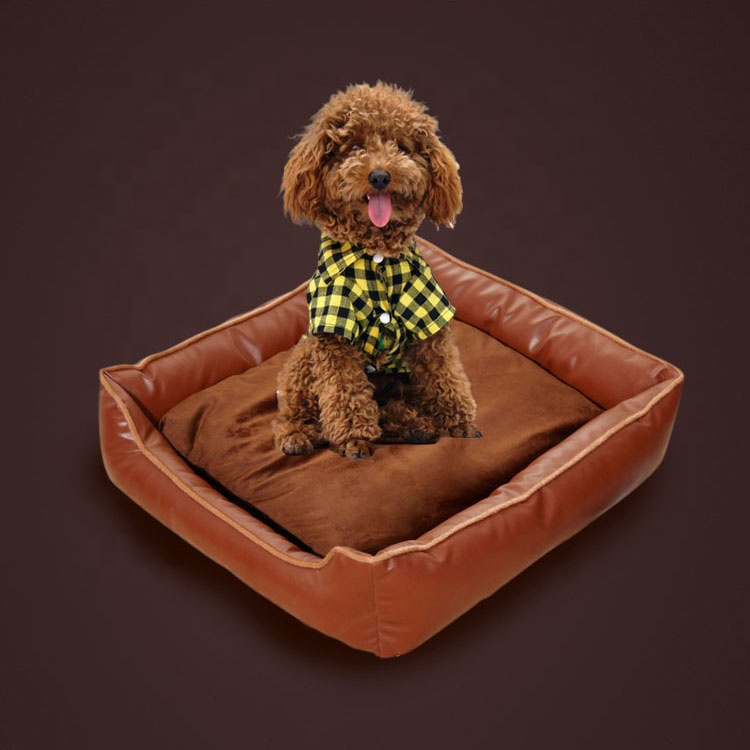 Luxury Leather Non slip Bed for Pet Supply Square Pet Bed