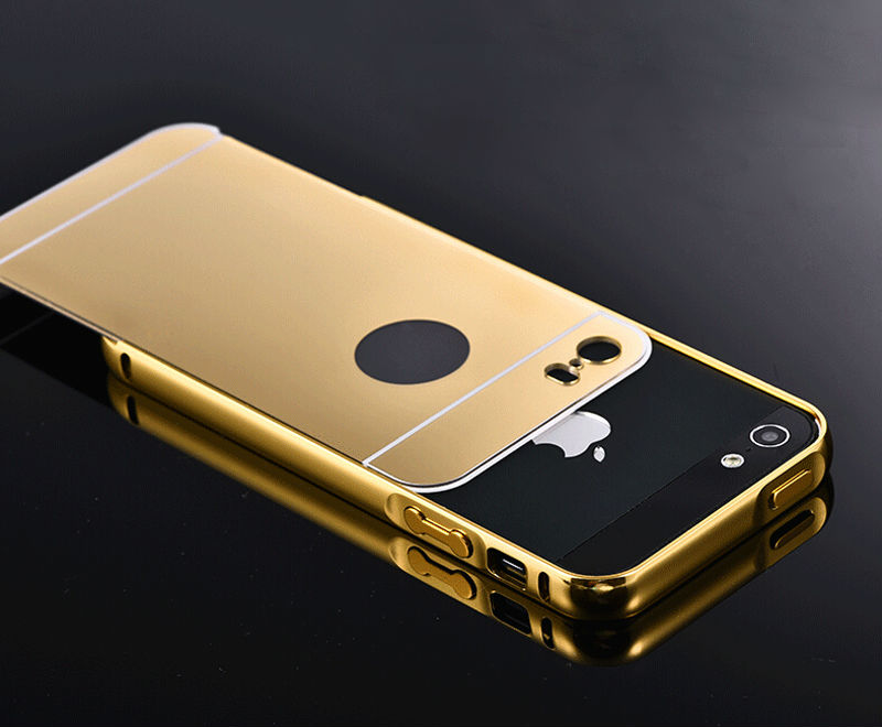 low priced 201bc 8ba20 5S Mirror Aluminum Case for iPhone 5 5G 5S apple HOT Fashion Gold Silver  Aluminum Acrylic Mobile Phone Cases Cover for iPhone5 s