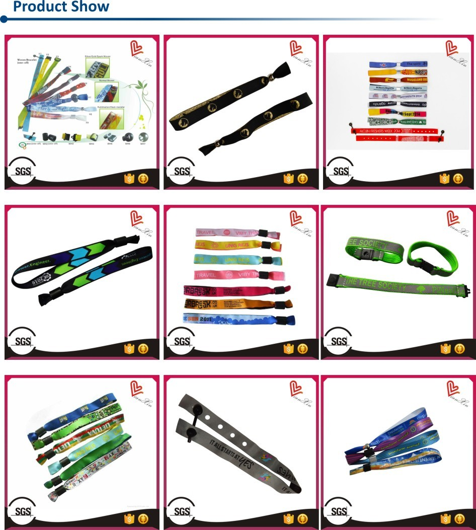 Wholesale custom polyester fabric festival wristbands for events