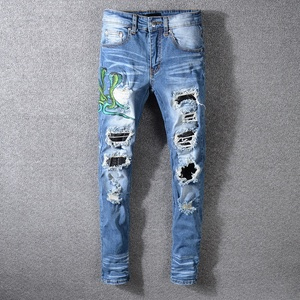 7dd7f9f0adc OEM embroidery dropshipping ripped trousers men jeans for men wholesale  jeans