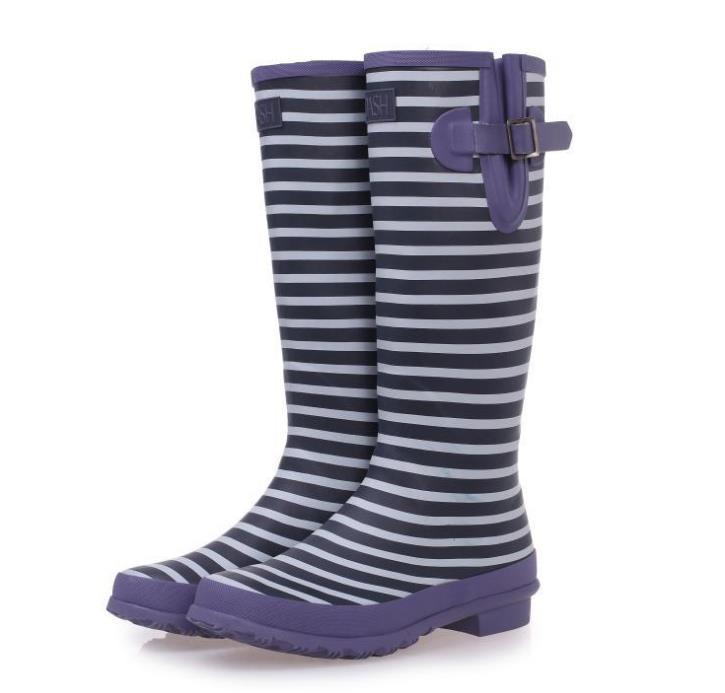 63778980db4c9c Get Quotations · Free Shipping Women Mens Fashion Rubber Rain Boots Knee- High Buckle Lovers Tall Rainboots Stripe