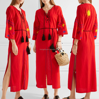 Boho Red Embroidered Cotton Long Balloon Sleeve Maxi Dress Hand Mexican Embroidered Dress long dress chiffon new style HSD5844