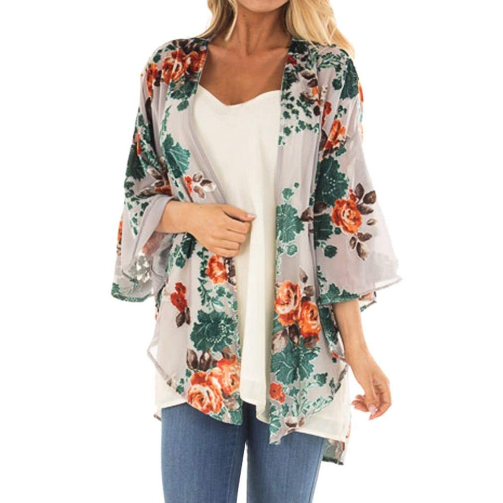 WYTong 2018 New Women Chiffon Floral Kimono Cardigan Loose Half Sleeve Shawl Jacket Top for Teen Girl
