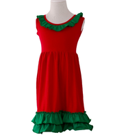 fashion design new style winter summer 100 cotton knit red and green baby little girls kid Christmas cotton ruffle dress