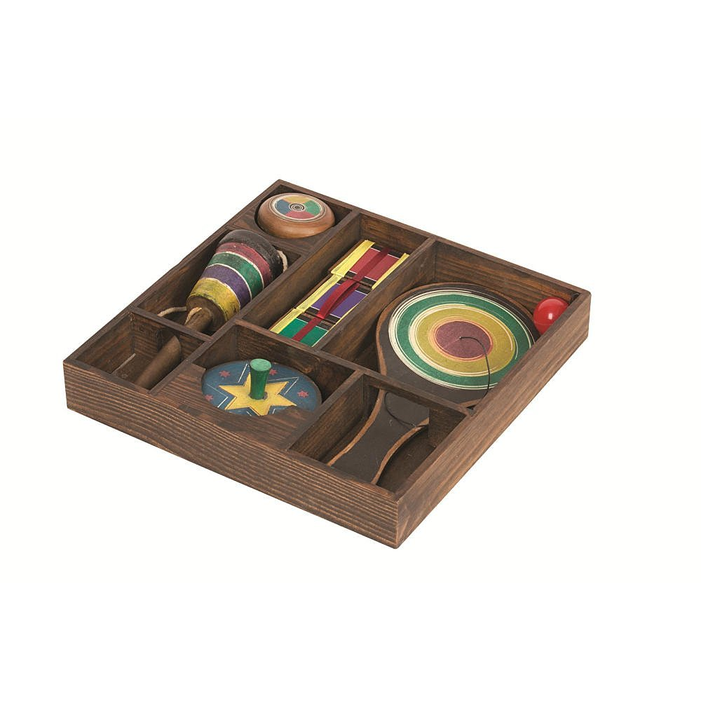 Pavilion Classic Antique Replica Wooden Games in Display Box Set (Yo-Yo, Spinning Top, Paddle Ball, Jacob's Ladder, & Ball Catch)