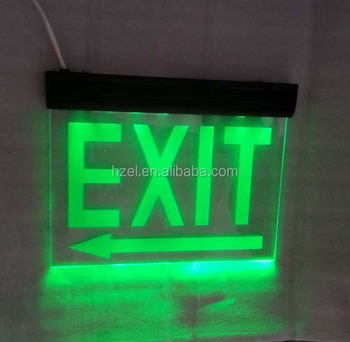 Zhuiming Acrylic Double Sides Green Led Emergency Exit Sign Light ...