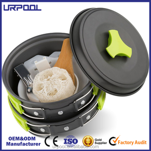 Manufacturer non-stick camping cookware set Camping Cookware Mess Kit 10 Piece Bowl Pot Pan set for outdoor camping