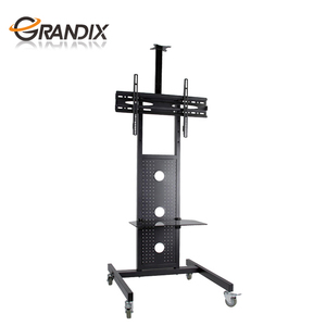 Black floating and rolling TV stand use for home / meeting room / lobby