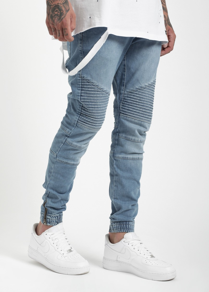 oem custom biker denim jogger pant blue wash man denim