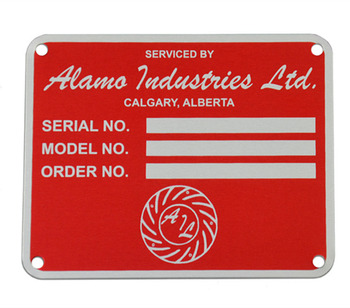 "Custom Anodized aluminum nameplate for motor ""Sub-Surface"" Screen-Printed"
