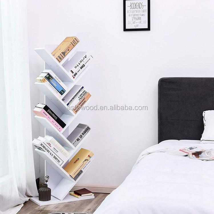 9 Shelf Tree Bookshelf Shape Floorstanding Modern Bookshelves Wooden Shaped Bookcase