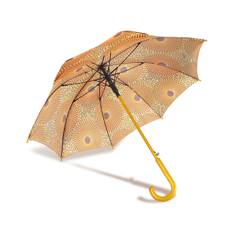 Fantastic Umbrella High quality wooden handle 23 inch 8K fiber outdoor shade straight African printing umbrella