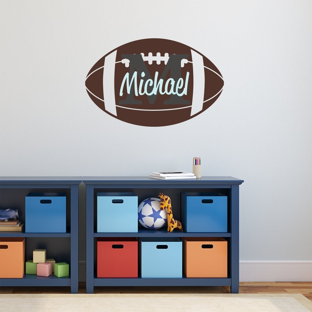 "Nursery Wall Decals Football Name and Initial Personalized Name Wall Decal 40"" by 26"", Boys or Girls Nursery Sports Decals, Football Wall Decals, Sports Wall Stickers, PLUS FREE HELLO DOOR DECAL"