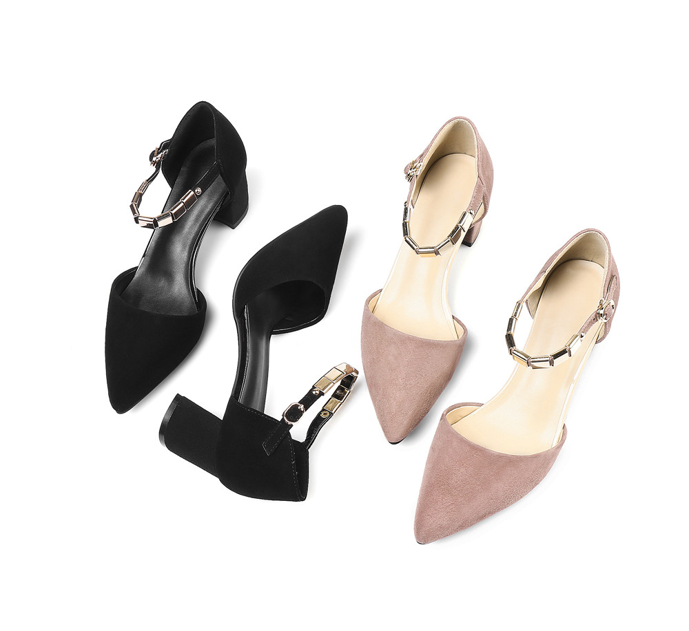 single shoes pointed buckle high leather toe women heels fashion Asumer suede shoes IqZXn
