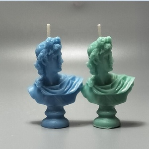 Miniature statue bust blue green Sculpture Apollo shaped scented candles mineral flavor Greek mythology statue candles