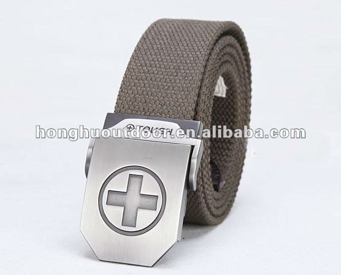 Triple buckles belt Mens slide buckle belt for army