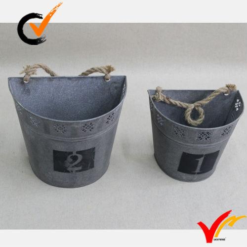 Vintage Metal Buckets Shabby Chic Flower Pot Garden Planter Storage