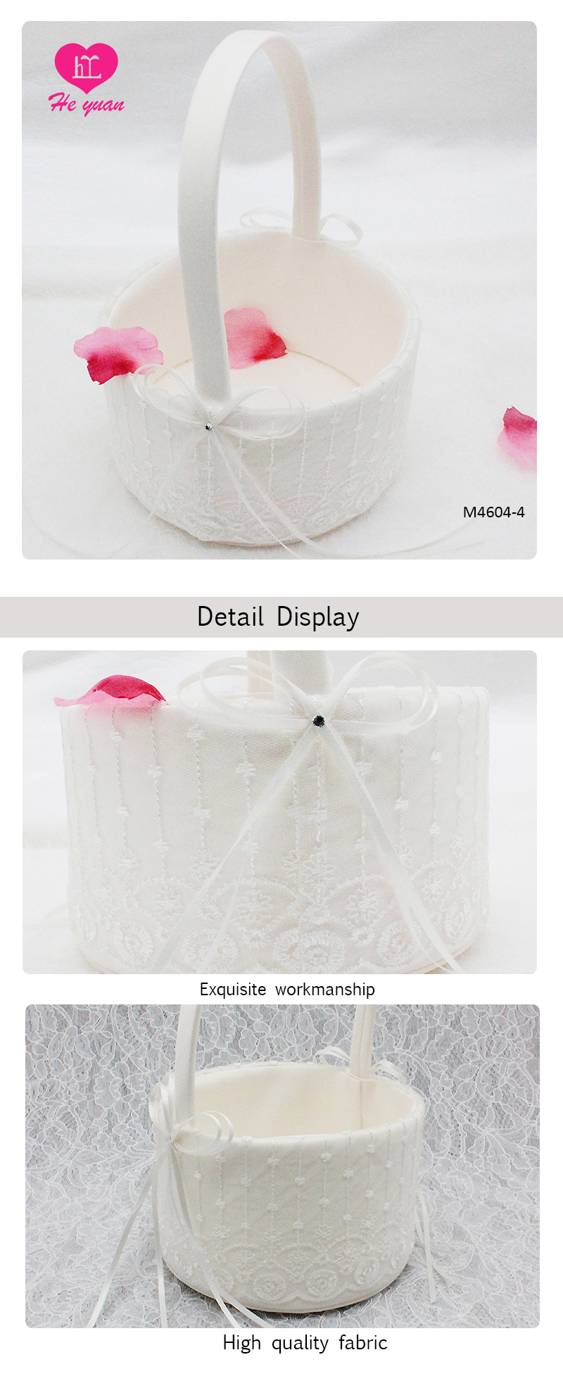 M4604 Flower Basket White Lace Wedding with Lovely Bowknot